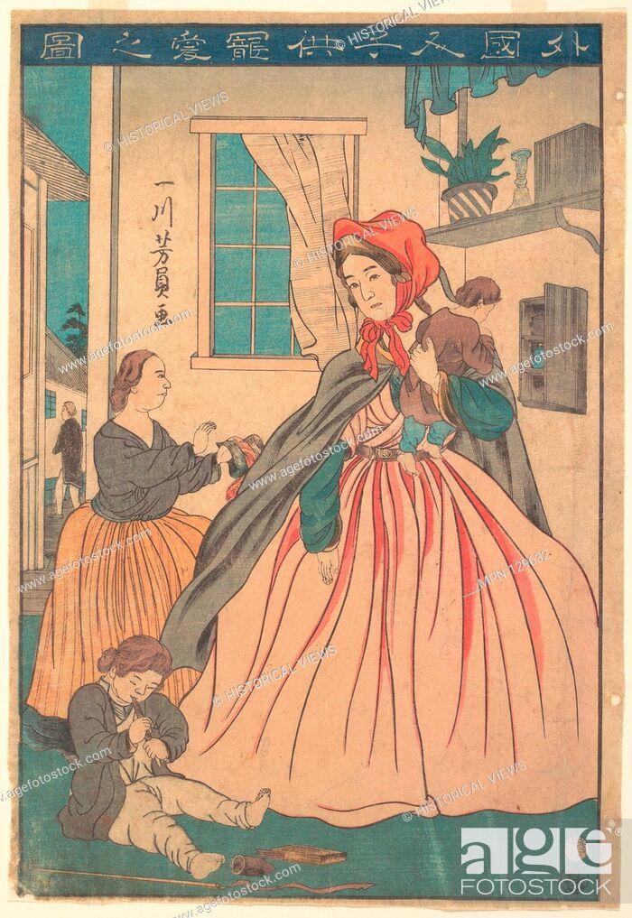 Stock Photo: Gaikokujin kodomo choai no zu/A Foreigner Enjoying Her Children. Artist: Utagawa Yoshikazu (Japanese, active ca. 1850-1870); Period: Edo period (1615-1868);.