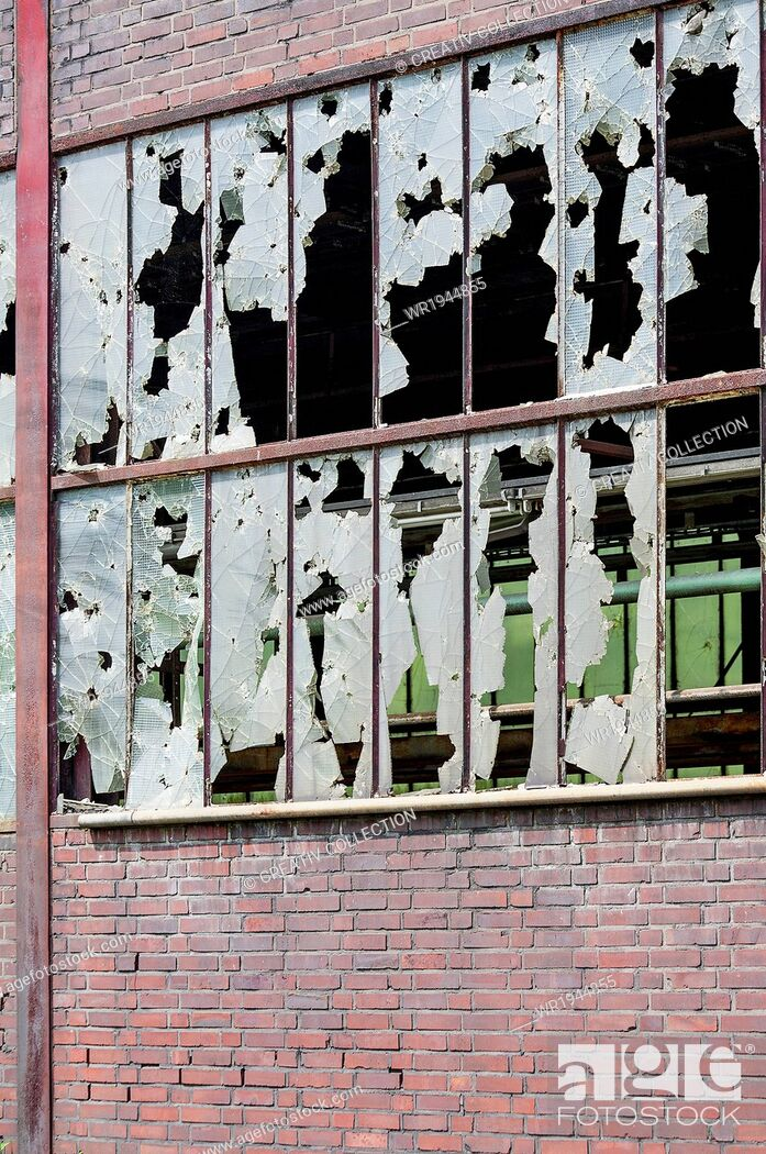 Stock Photo: Tile, Sprout, Fragment, Stone Wall, Glass - Material, Shard, Glass, Broken, Industry, Backgrounds, Piece, Wall, Architecture, Building, Facade, Window, Hall, Brick, Front
