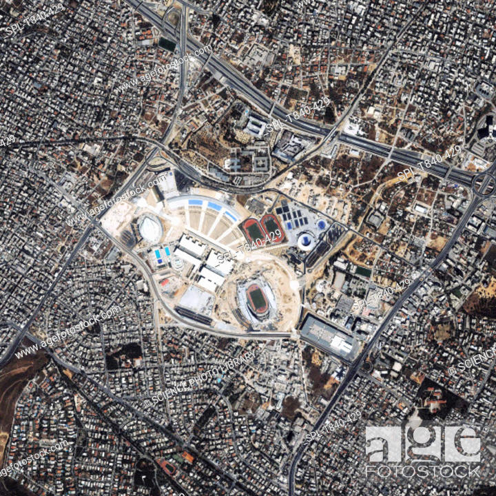 Stock Photo: Olympic Sports Complex, Athens 2004. Satellite view of the Olympic Sports Complex of the 23rd Modern Olympic Games held on the 13-29 August 2004.