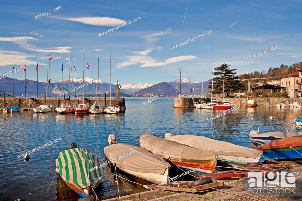 Stock Photo: Old harbour, Lago Maggiore, Laveno-Mombello, Laveno, Lombardy, Province of Varese, Italy.
