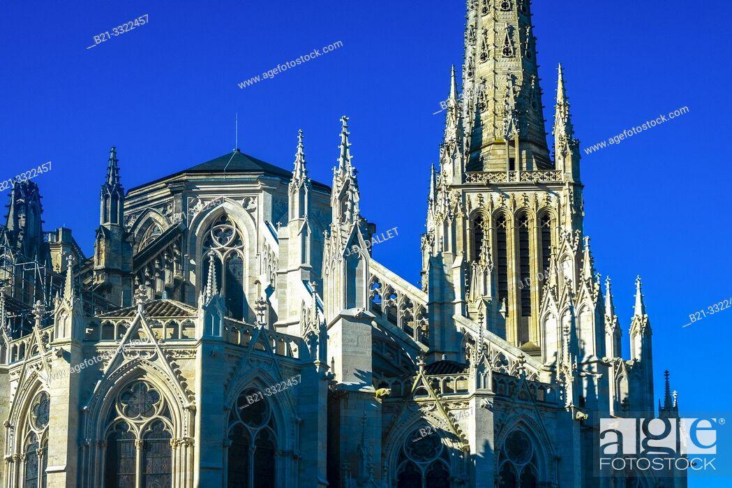 Stock Photo: France, Nouvelle Aquitaine, Gironde, Cathedrale Saint Etienne, at Bordeaux.