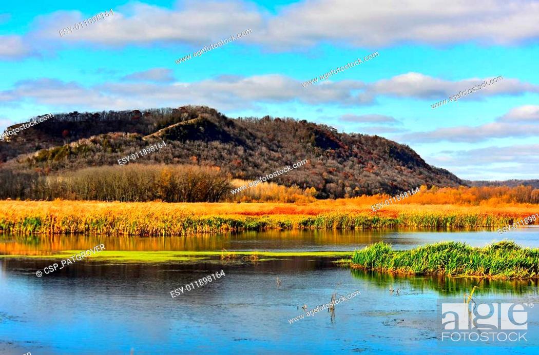 Stock Photo: New Albin Iowa Slough Marsh & Hills.