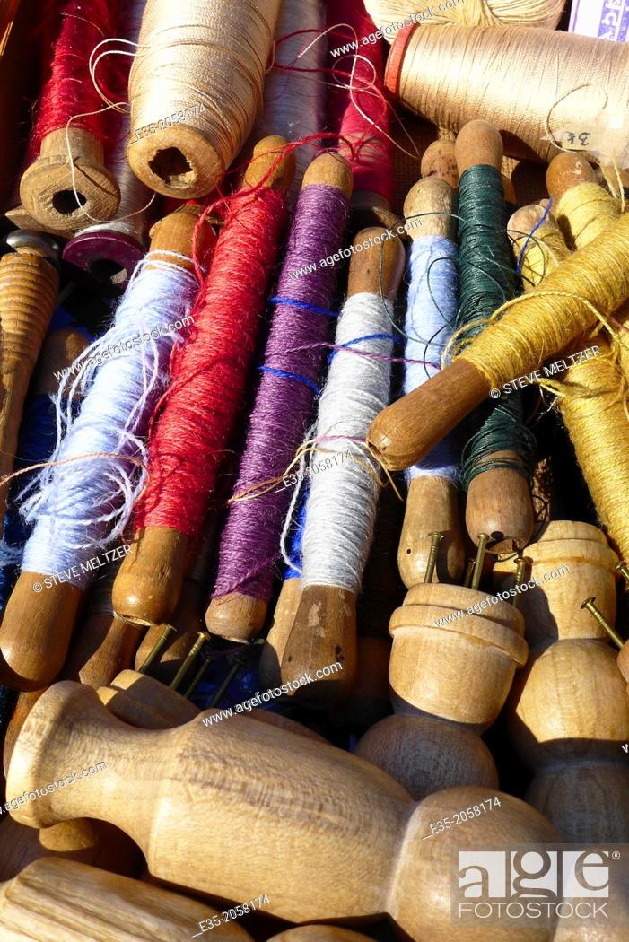 Stock Photo: Antique spindles of thread.