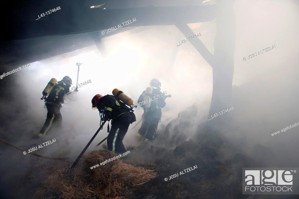 Stock Photo: Fire in a farmer house in Legazpi, guipuzcoa, basque country.