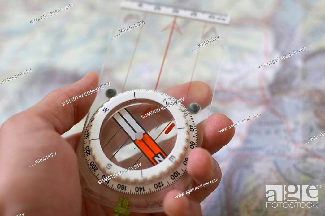 Stock Photo: naviagtion with compass.