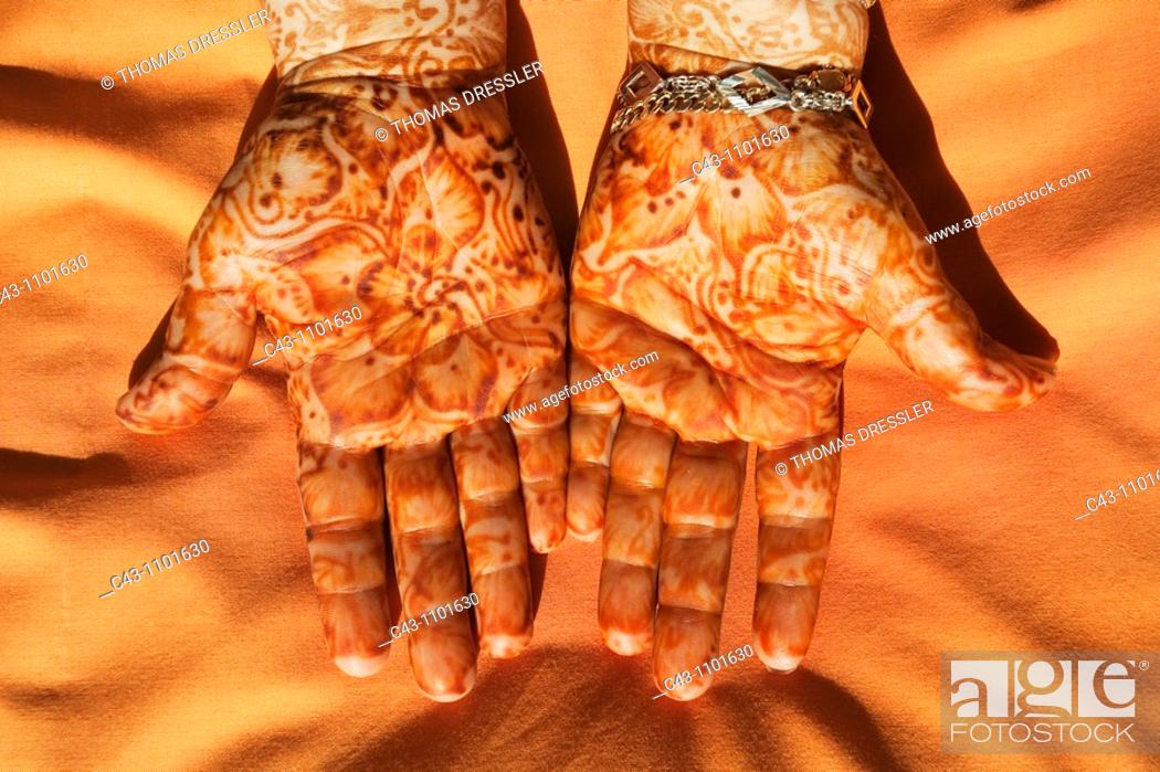 Stock Photo: Morocco - On festive occasions the hands of women are adorned with drawings in henna.