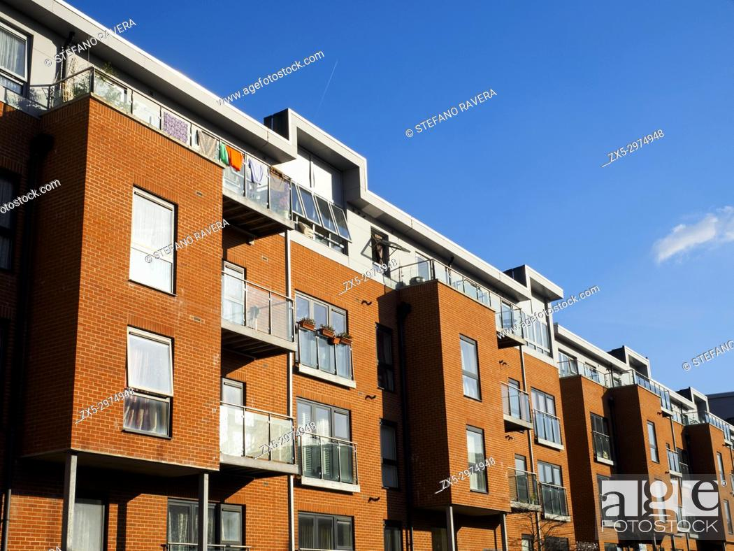 Stock Photo: Modern apartment building - London, England.