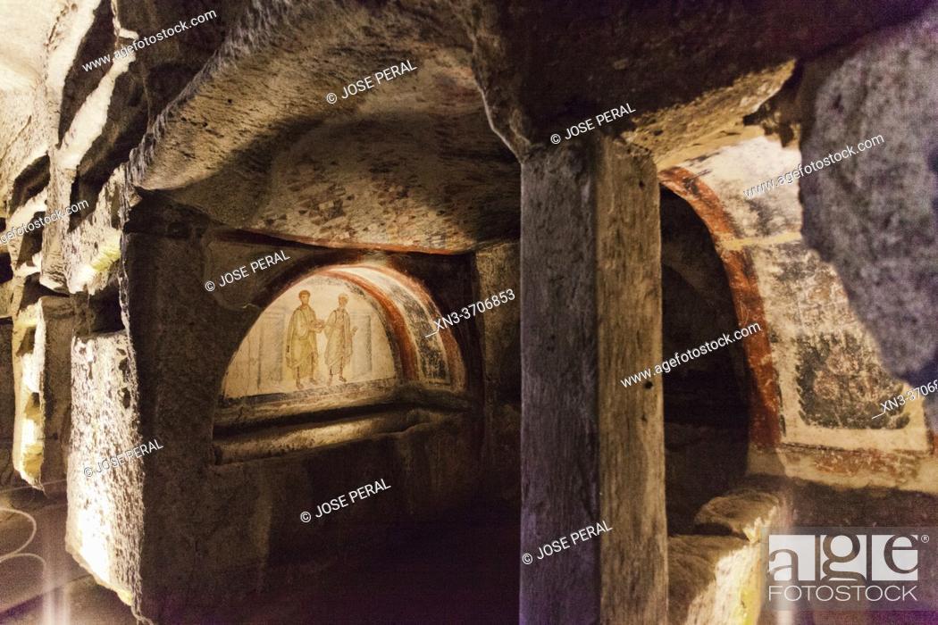 Stock Photo: Catacombs of Saint Gaudiosus are underground paleo-Christian burial sites, Santa Maria della Sanità, church, Rione Sanità, Naples city, Campania, Italy, Europe.