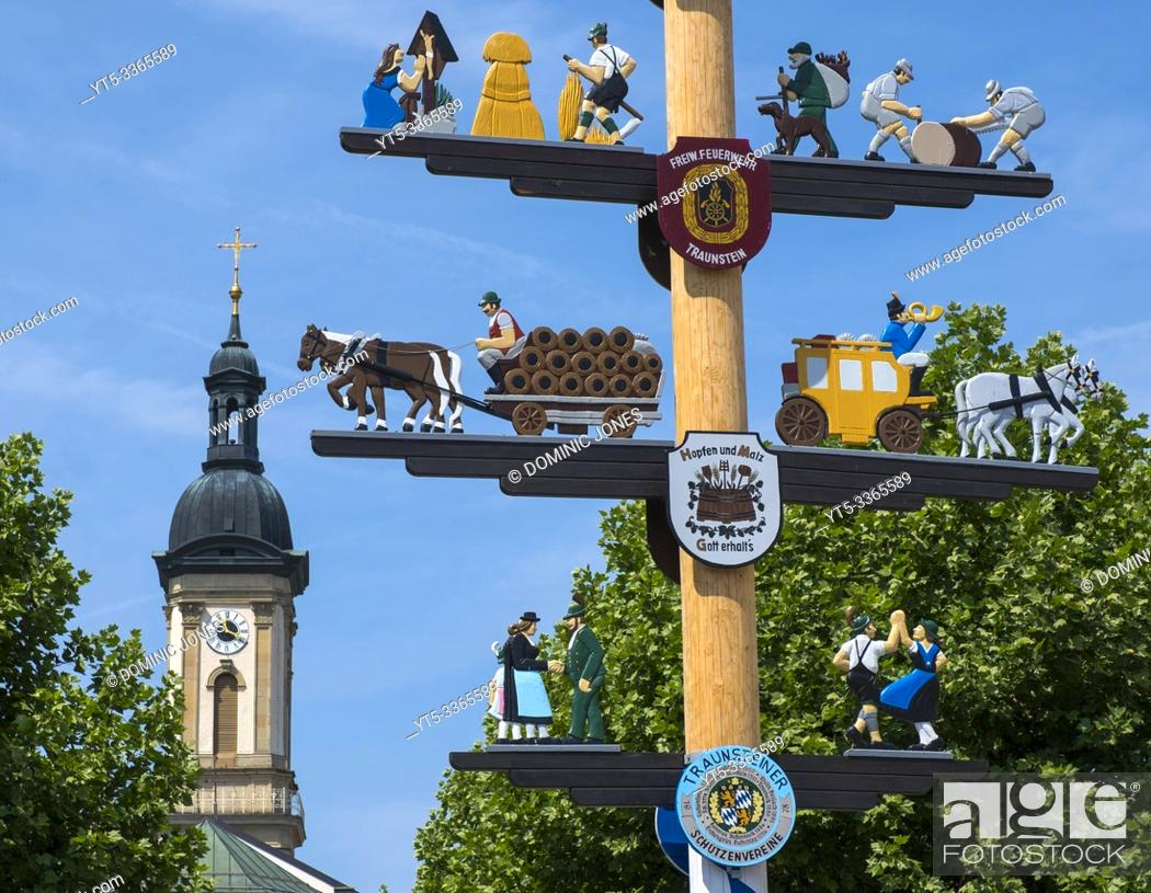 Stock Photo: Traunstein, Oberbayern, Germany, Europe.