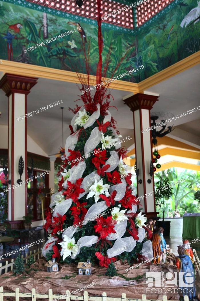 ceiling in the elaborate lobby of a resort hotel along with a christmas tree and manger scene during the christmas season in the dominican republic - Christmas In Dominican Republic