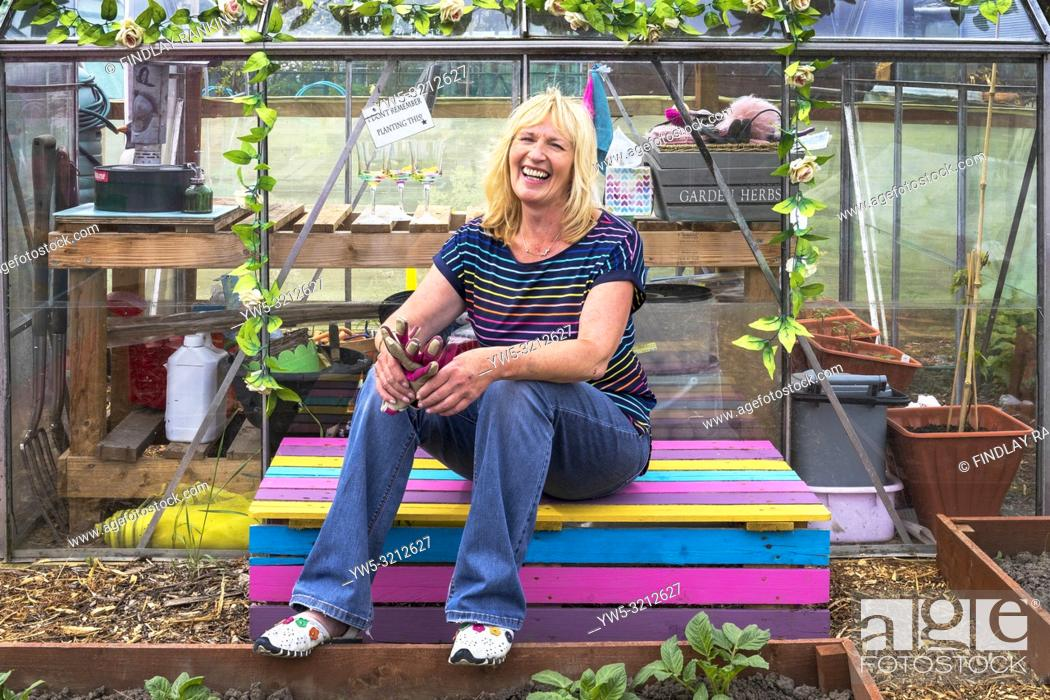 Stock Photo: Image of PEGGY ANNE CAMPBELL, Plot 78, Eglinton Growers, Kilwinning, Eglinton Growers Allotments, Kilwinning, Ayrshire, Scotland, UK.