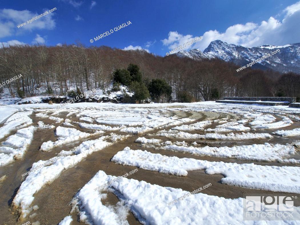 Stock Photo: Snow trails at Ferreries Area parking lot. Les Agudes Peak at background. Montseny Natural Park. Barcelona province, Catalonia, Spain.