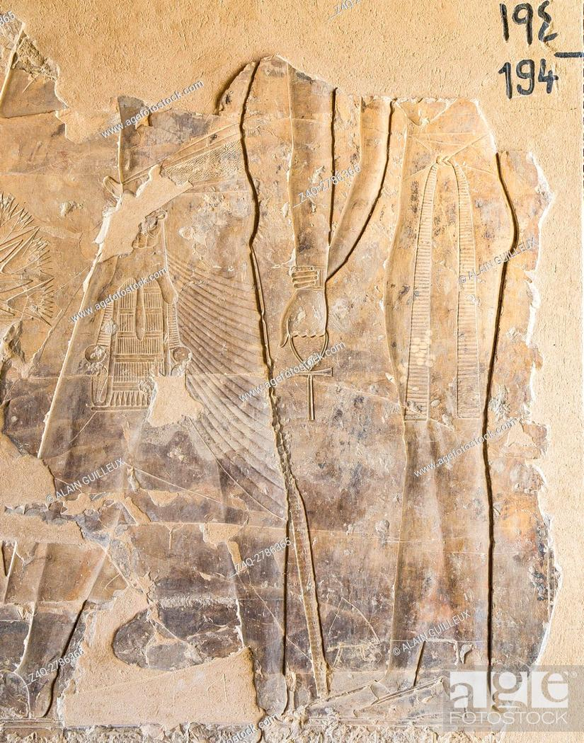 Stock Photo: UNESCO World Heritage, Thebes in Egypt, Assassif (part of the Valley of the Nobles), tomb of Kheruef, a king followed by a woman.