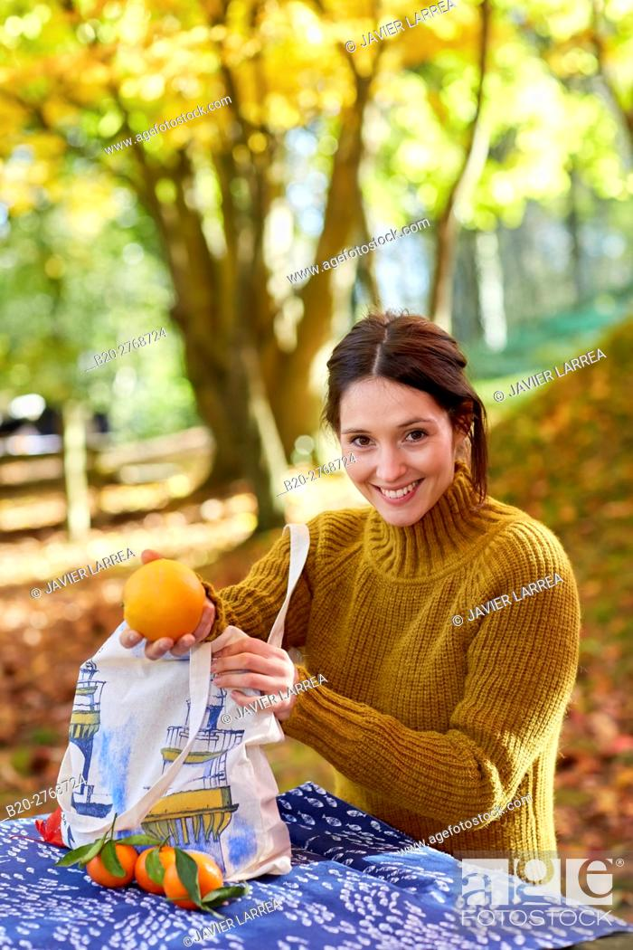 Stock Photo: Woman picnic in the forest, Autumn, Pagoetako Parke Naturala, Pagoeta Natural Park, Aya, Gipuzkoa, Basque Country, Spain.