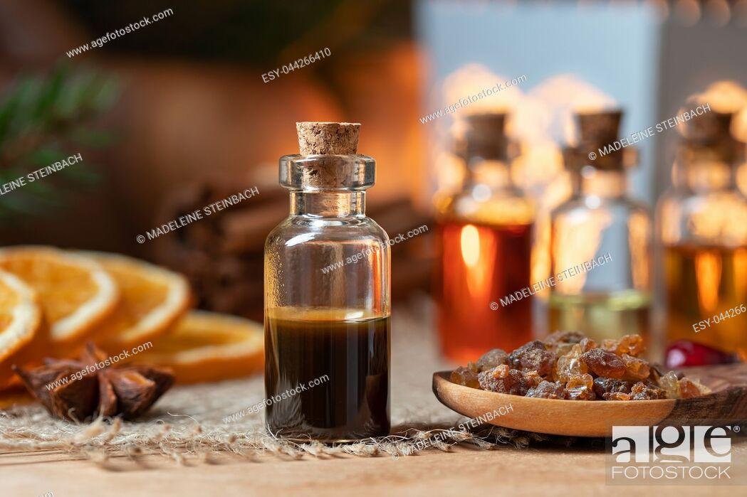 Stock Photo: Myrrh essential oil and resin.