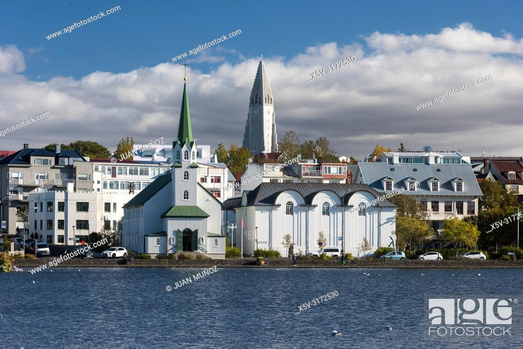 Stock Photo: View of the city from Lake Tjörnin. Reykjavik Iceland.