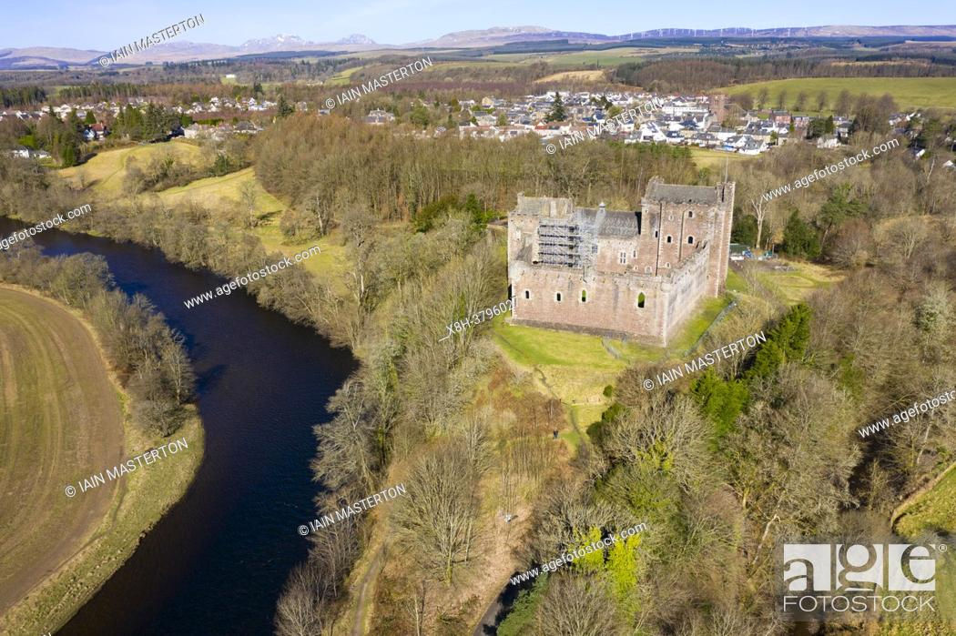 Stock Photo: Aerial view of Doune Castle above River Teith near Doune, Stirling District, Central, Scotland, UK.