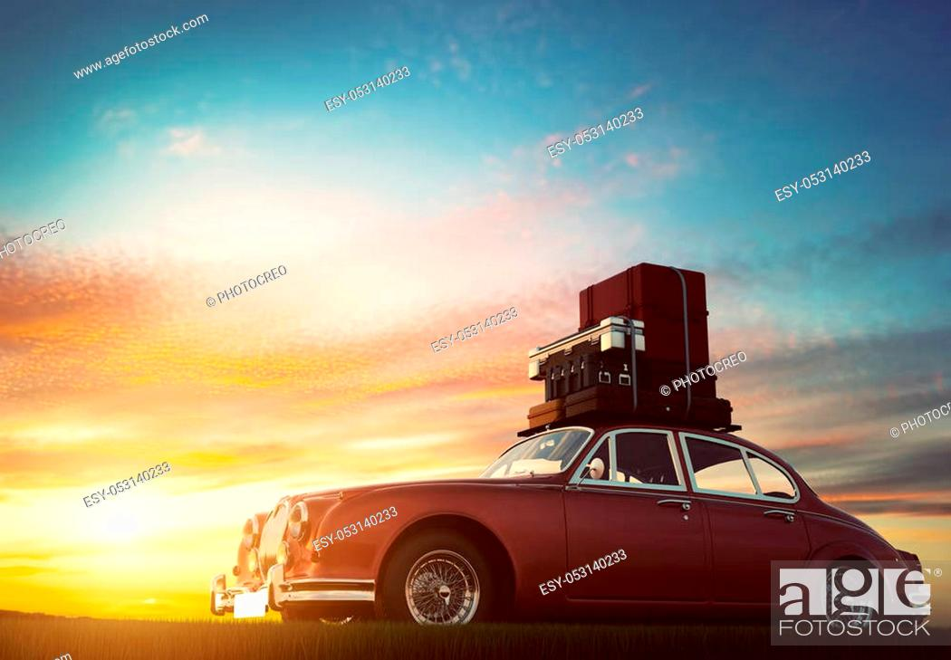 Stock Photo: Retro red car with luggage on roof rack at sunset. Travel, vacation concepts. 3D illustration.