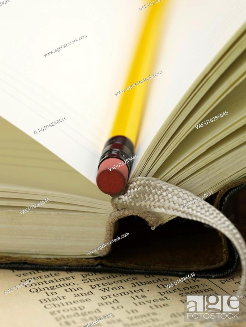 Stock Photo: writing instrument, newspaper, school stationery, stationery, business supplies, pencil, artifact.