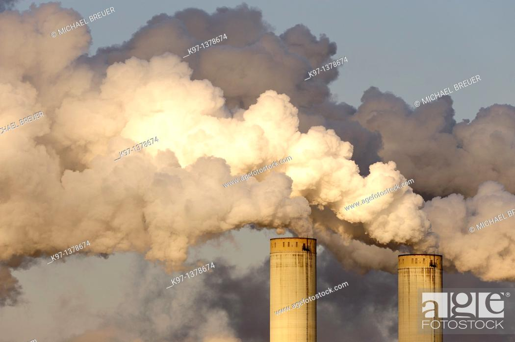 Stock Photo: Smoke stacks of a coal fired power station, Frimmersdorf, North Rhine-Westphalia, Germany, Europe.