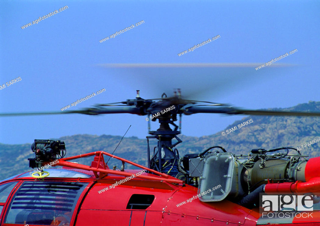 Stock Photo: Close up of a helicopter propeller.