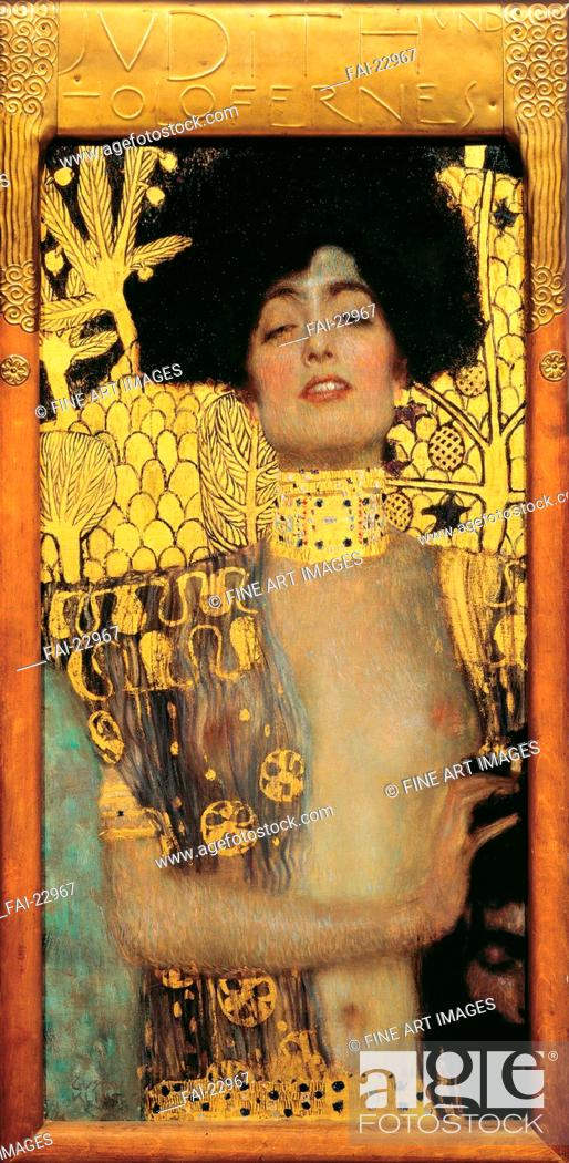 Stock Photo: Judith. Klimt, Gustav (1862-1918). Oil on canvas. Art Nouveau. 1901. Austria. Österreichische Galerie Belvedere, Vienna. 84x42.