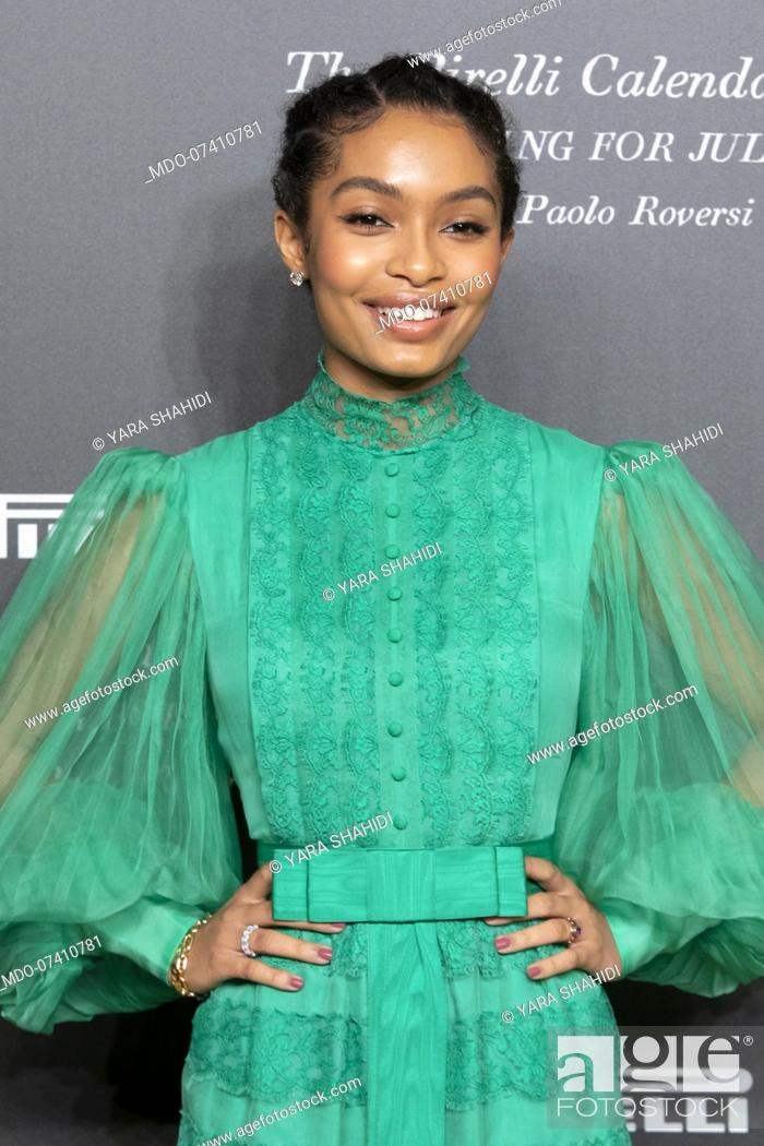 Stock Photo: American actress Yara Shahidi during the presentation of the Pirelli 2020 Calendar at the Verona Philharmonic Theater. Verona (Italy), December 3rd, 2019.
