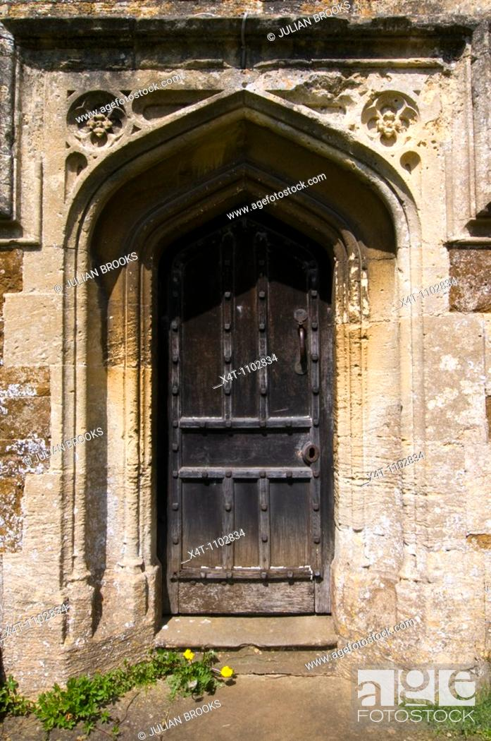 Stock Photo: Church door at West Adderbury in the Cotswolds, Oxfordshire, UK.