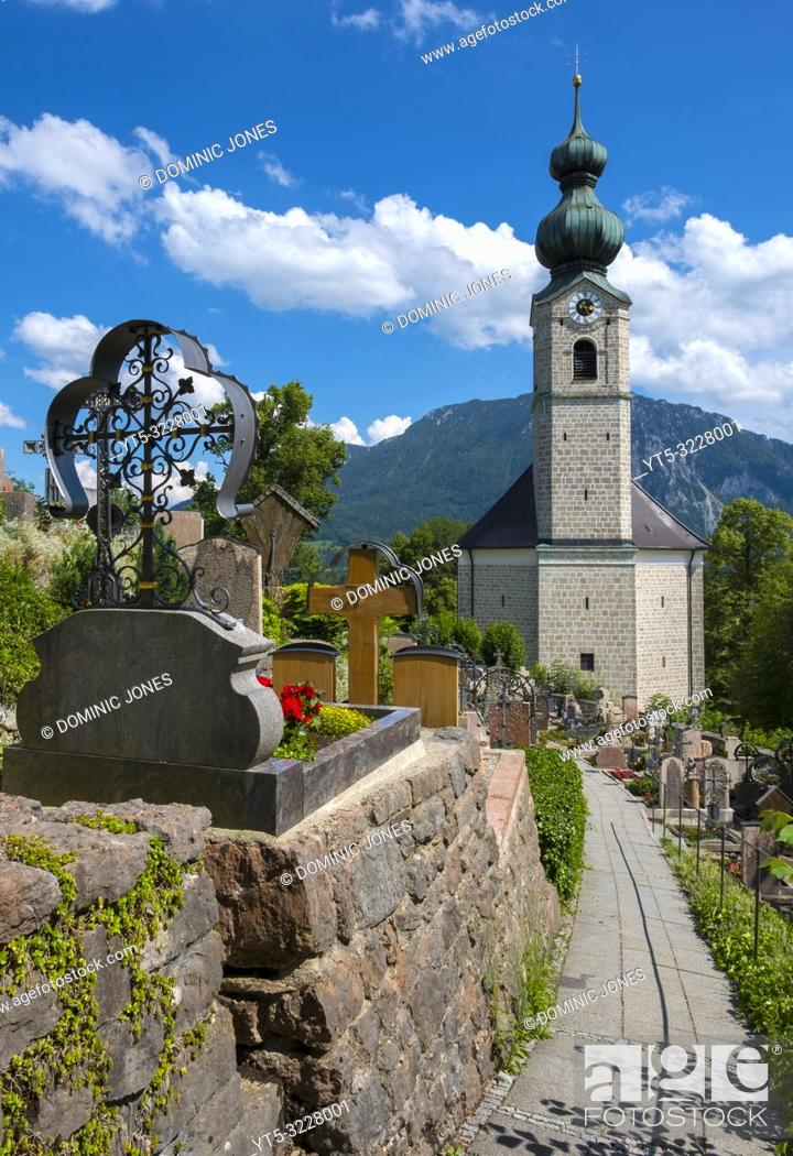 Stock Photo: St. George's Parish Church, Ruhpolding, Bavaria, Germany, Europe.