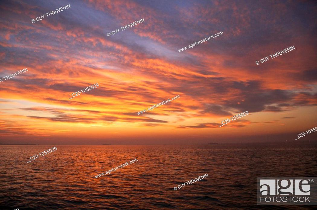 Stock Photo: Sunset on the laguna ,Venice, Italy.