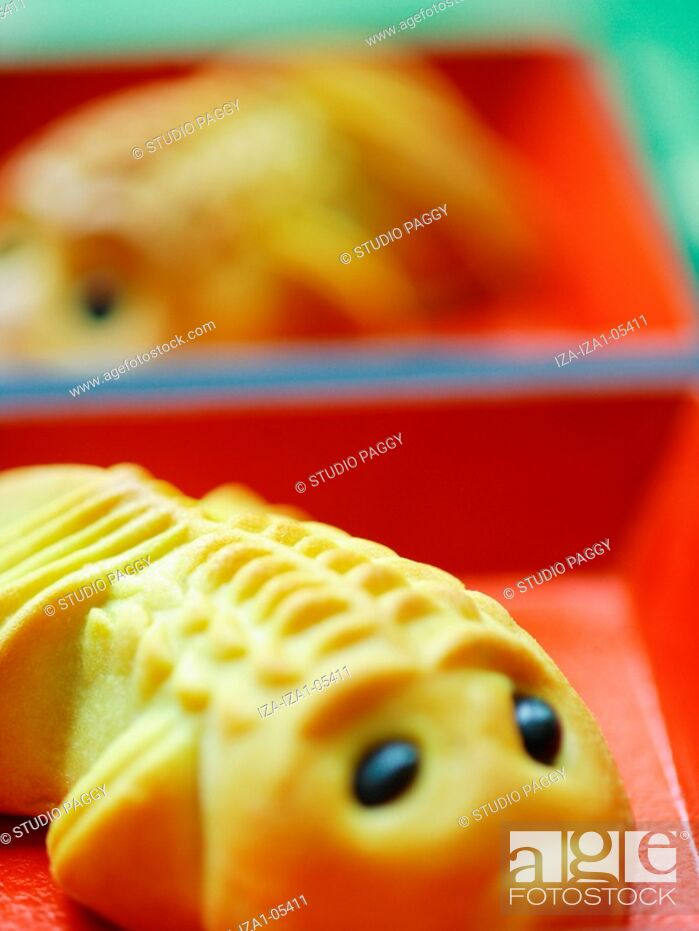 Stock Photo: Close-up of a fish shaped cake.