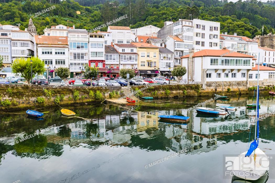 Stock Photo: Maritime front of the town of Pontedeume, La Coruña, Galicia, Spain, Europe.