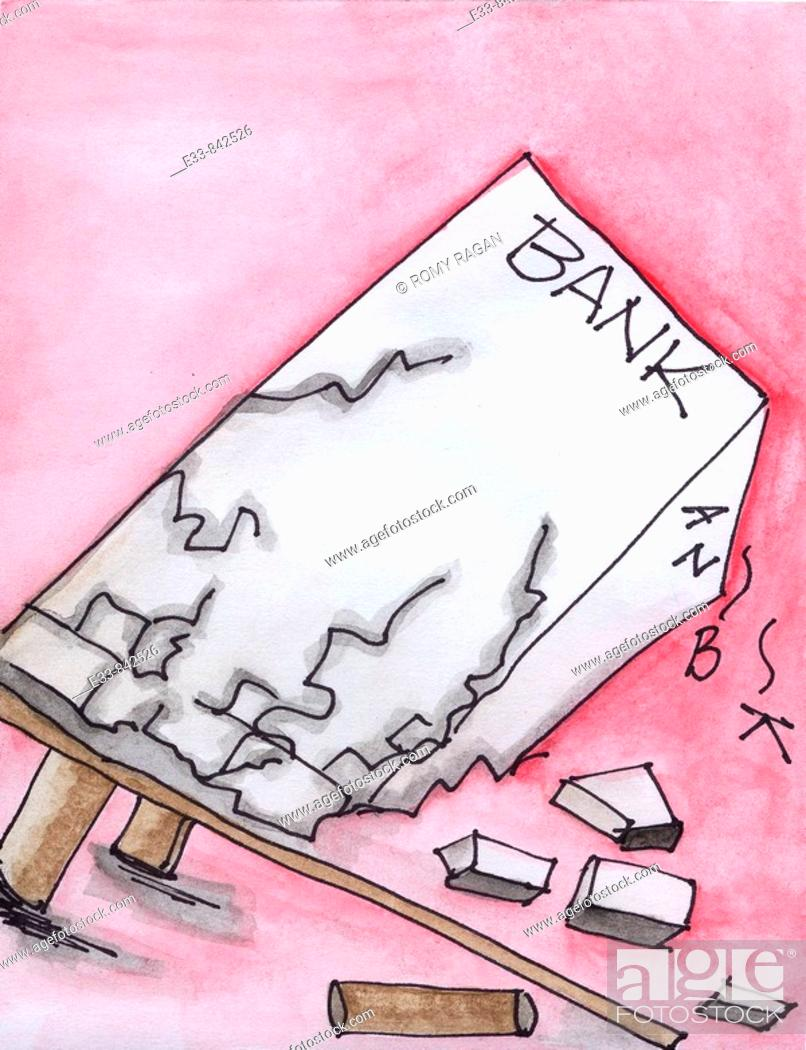 Stock Photo: Conceptual illustration of a collapsing bank.