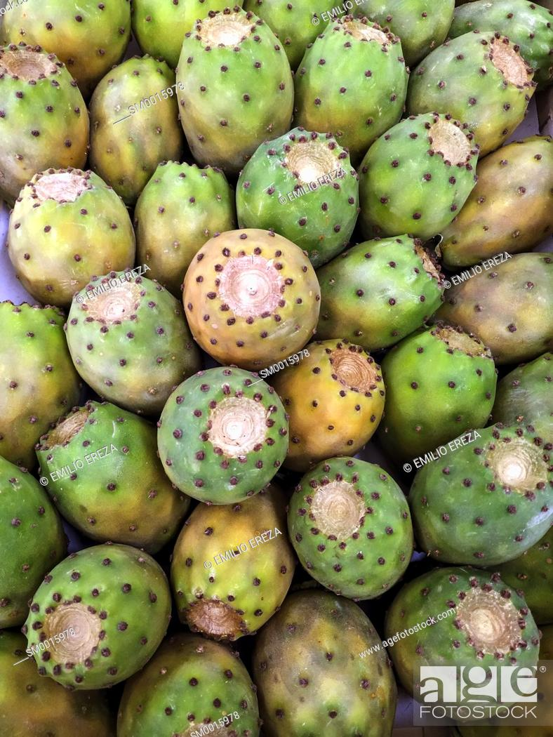 Stock Photo: Prickly pears for sale.