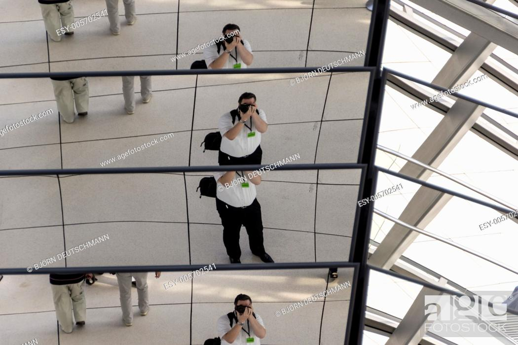 Stock Photo: A self-portrait taken in the glass dome of the Reichstag building in Berlin.