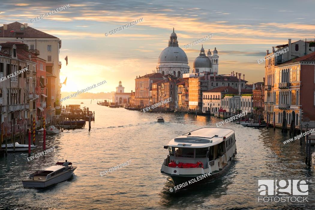Stock Photo: Beautiful calm sunset over Canal Grande in Venice, Italy.
