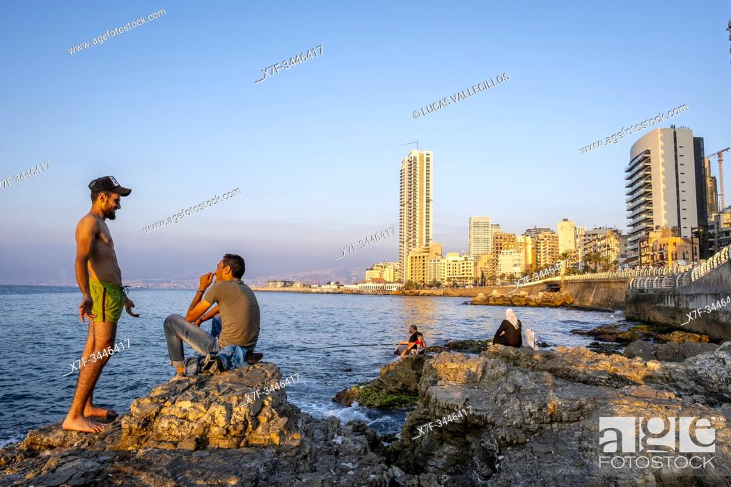 Stock Photo: Relax time, Corniche, Beirut, Lebanon.