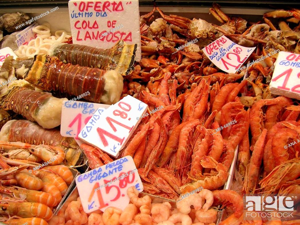 Stock Photo: Frozen seafood for sale.
