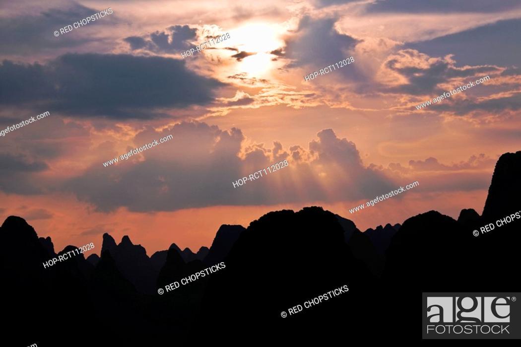 Stock Photo: Silhouette of hills at dusk, XingPing, Yangshuo, Guangxi Province, China.