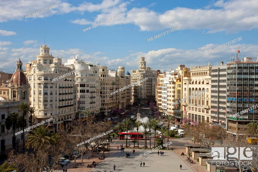 Stock Photo: City Hall Square in Valencia City, Spain, Europe.