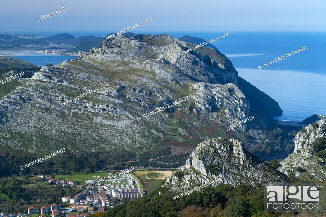 Stock Photo: View of Mount Candina from Mount Cerredo, Cantabrian Sea, MONTAÑA ORIENTAL COSTERA MOC, Castro Urdiales, Cantabria, Spain, Europe.