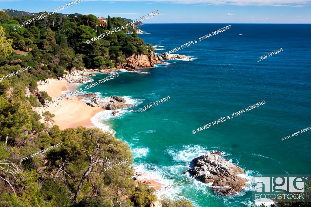 Stock Photo Sa Boadella Beach Lloret De Mar Girona Spain