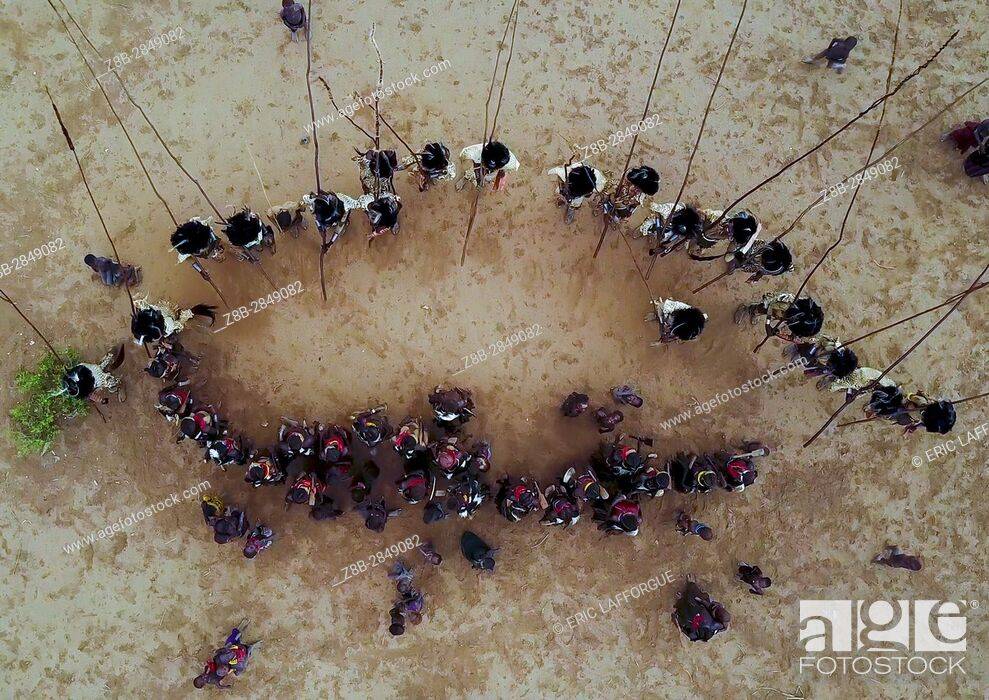 Stock Photo: Aerial view of dimi ceremony in the Dassanech tribe to celebrate circumcision of teenagers, Omo Valley, Omorate, Ethiopia.