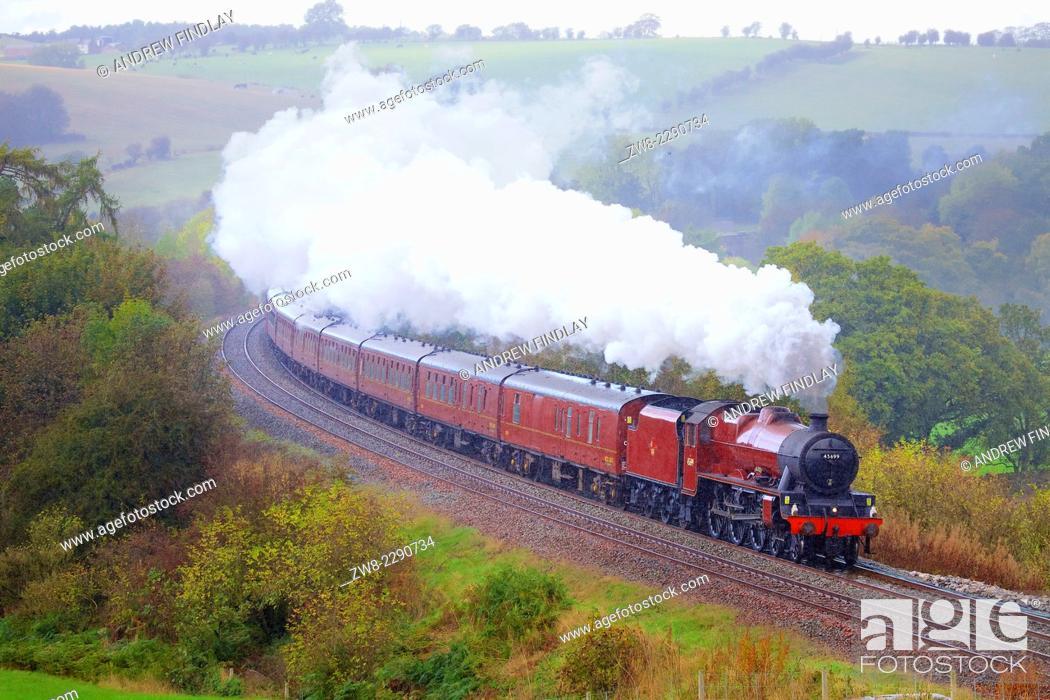 Stock Photo: LMS Jubilee Class 45699 Galatea 'The Hadrian', steam train on the Settle to Carlisle Railway Line near Low Baron Wood Farm, Armathwaite, Eden Valley, Cumbria.