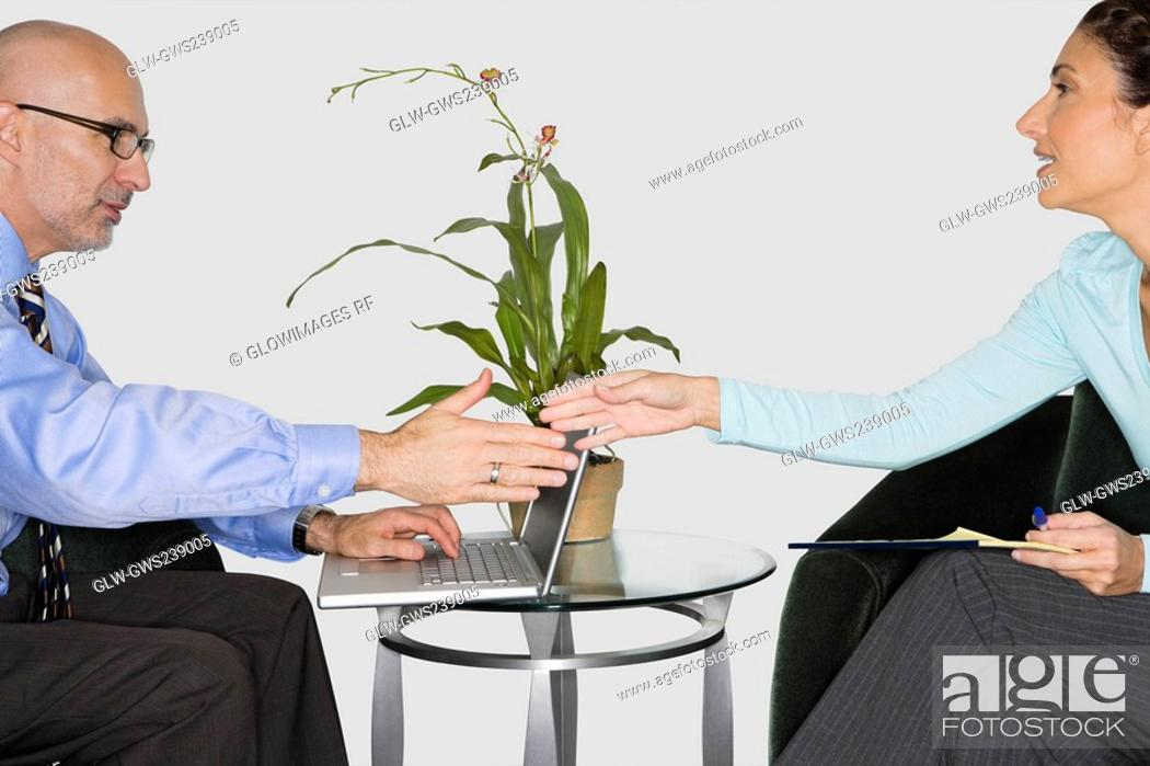 Stock Photo: Businessman and a businesswoman shaking their hands.