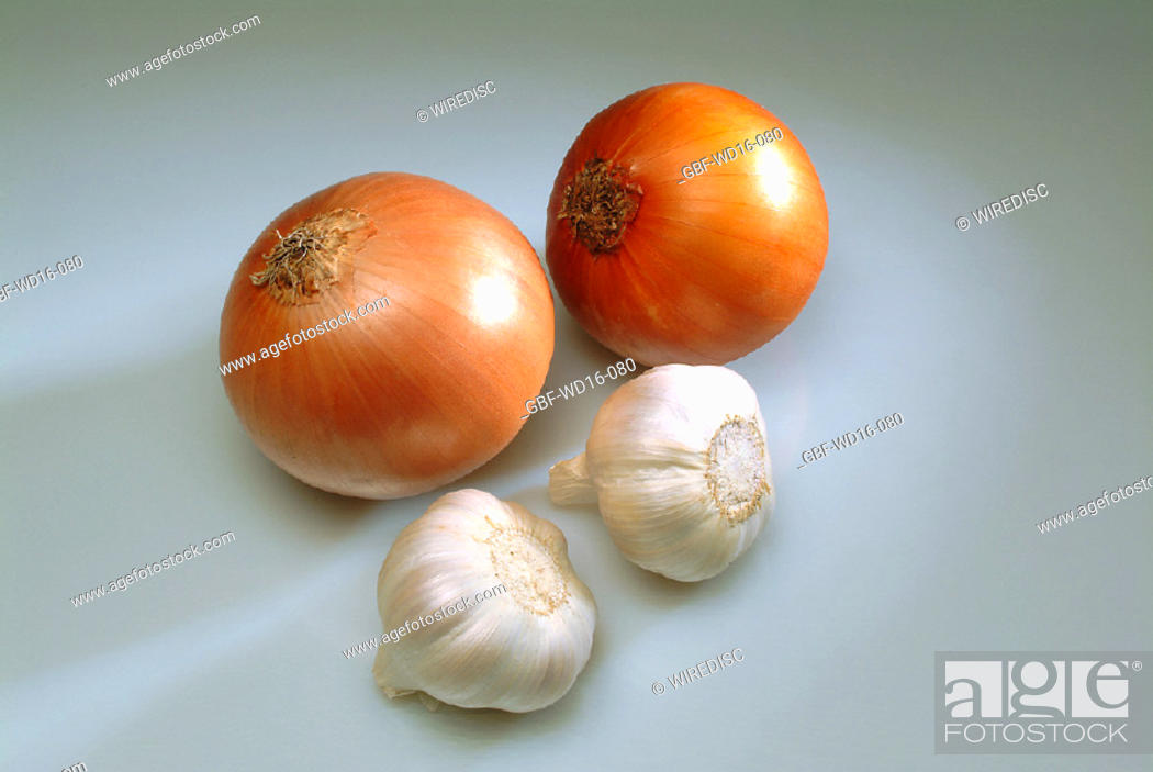 Stock Photo: Food, vegetables, garlic, onion.
