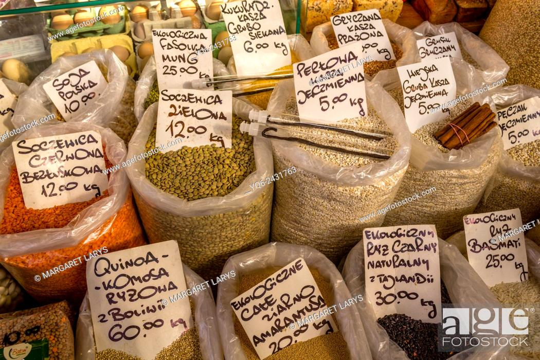 Stock Photo: Selection of organic and healthy grains and lentils at the food market in Cracow, Poland.