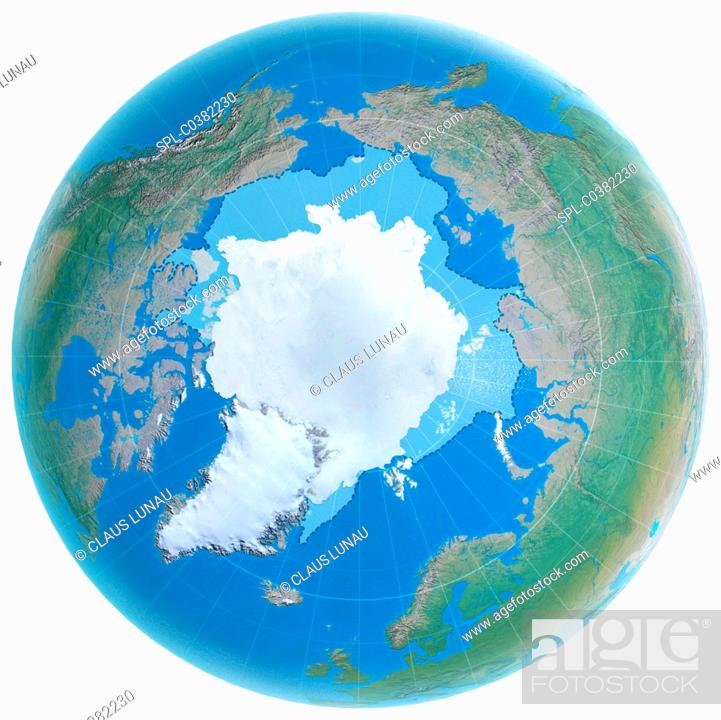 Stock Photo: Polar ice cap shrinking. Computer illustration of the globe, centred on the North Pole, showing the extent to which the Arctic ice cap (white) shrunk between.