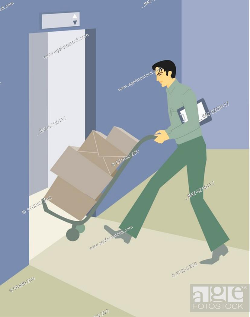 Stock Photo: A deliveryman carting boxes onto an elevator.