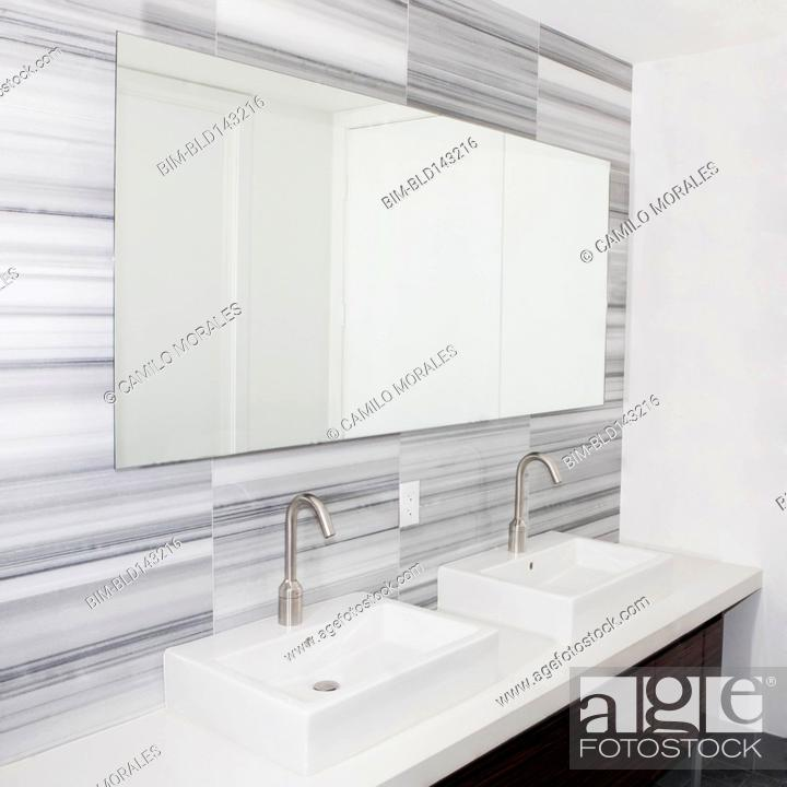 Sinks And Mirror In Modern Bathroom Stock Photo Picture And